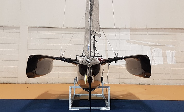 Flying Mantis debut launch london boat show foiling trimaran dinghy sailing